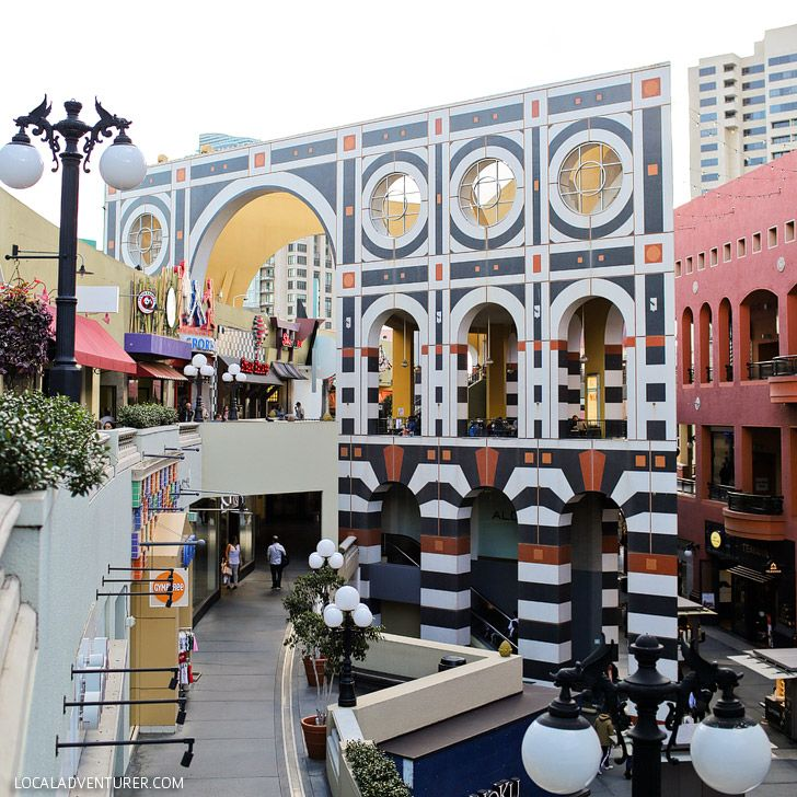 Horton Plaza is a Westfield, San Diego - Shopping Mall in Downtown San Diego known for its Bright Colors and Architectural Tricks