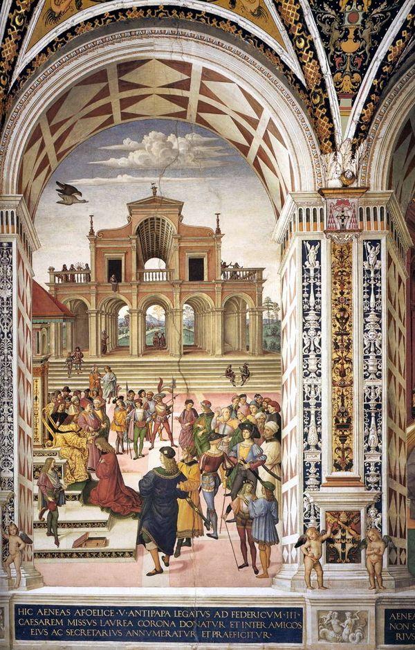 Фридрих III возлагает на голову Пикколомини лавровый венок поэта-лауреата