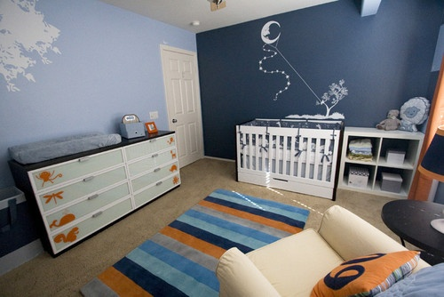 Adorable boys room!    modern blue orange nursery