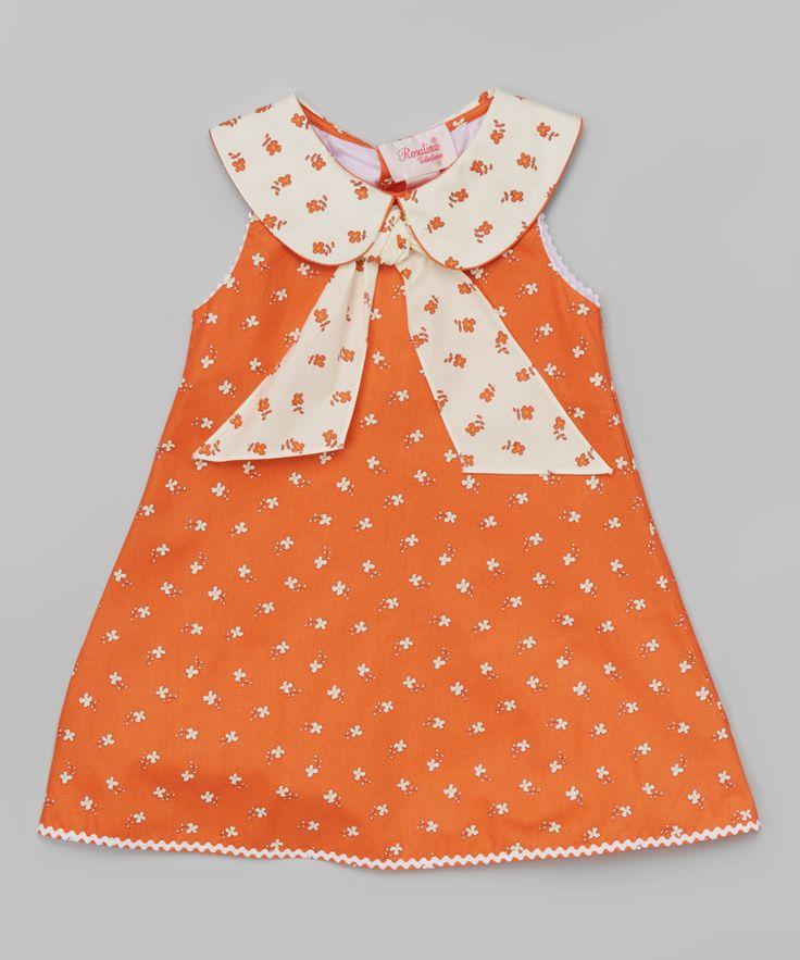 Orange Vintage Floral Bow Swing Dress - Girls