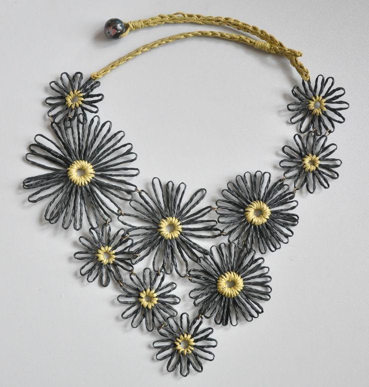 Summer Daisy - Black - Handmade Paper Raffia Daisy Bib Necklace by jennysunny on Etsy