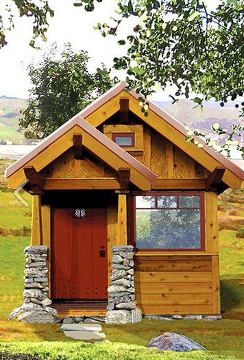 Front elevation idea for standalone tiny guest house.