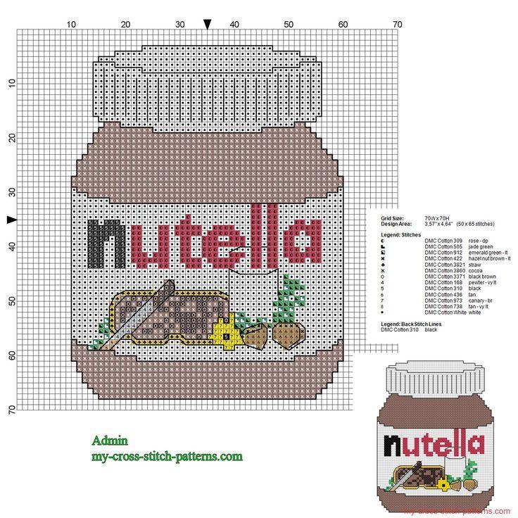 Nutella jar cross stitch pattern 50 x 65 stitches 13 DMC threads