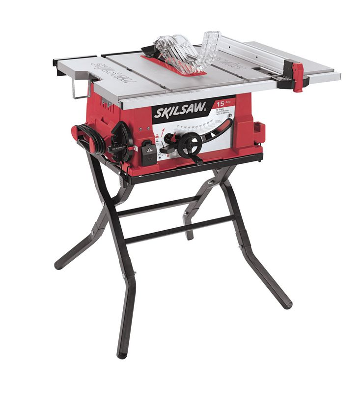 SKIL 3410-02 10-Inch Table Saw with Folding Stand. 20-Inch x 26-Inch cast aluminum table extends to 20-Inch x 32-Inch for longer work pieces. 3-1/2-Inch cut height capacity for cutting through 4x materials. Heavy-duty steel stand for fast setup and easy transport. Self-Aligning Rip Fence for accurate measurements. EZ view measurement system for accurate settings.