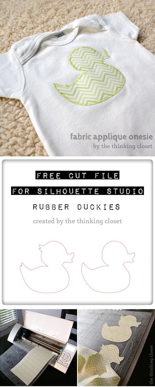 Free 'rubber duck' cut file & fabric appliqué  tutorial #Silhouette #CutFile http://www.thinkingcloset.com/2013/05/24/fabric-applique-onesie-tutorial-free-cut-file/