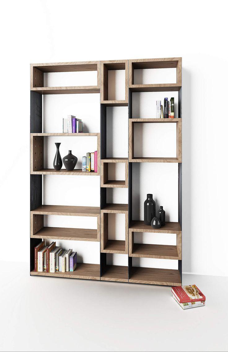 Librería Concrete de estantes de madera y estructura de metal