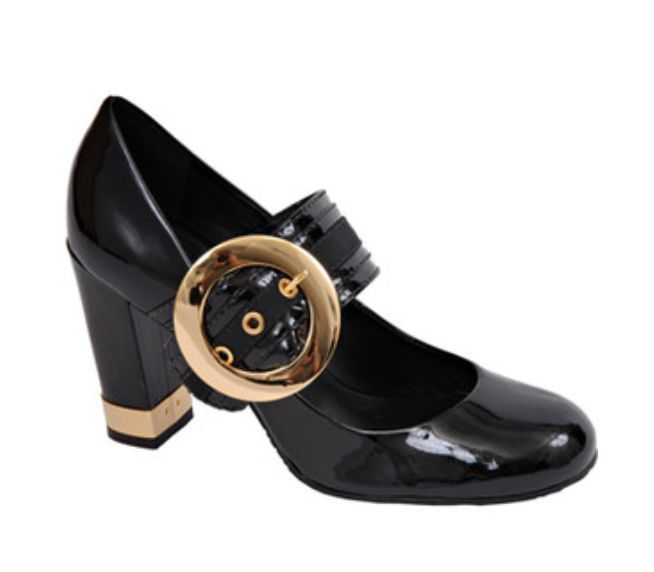 Tory Burch Black Patent Leather Mary Jane Shoes with Chunky Heel and Buckle