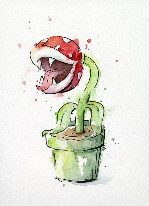 Piranha Plant Original Watercolor Painting, Geek Art, 9×12″