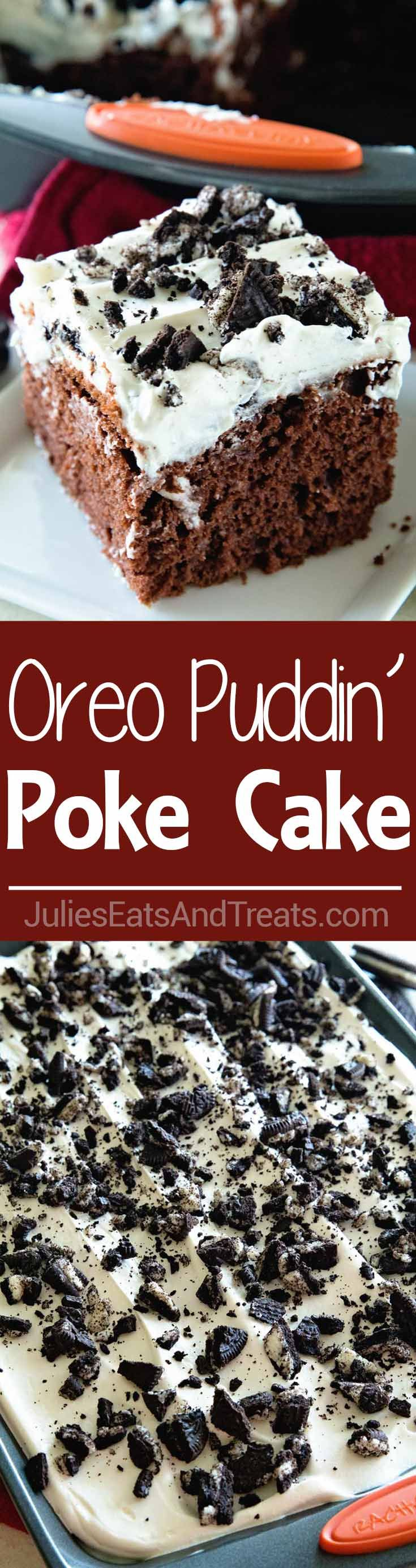 Oreo Puddin' Poke Cake ~ Chocolate Cake Topped with Oreo Pudding, Cool Whip and Crushed Oreos! Quick, Easy Poke Cake That Everyone Will Love! via @julieseats