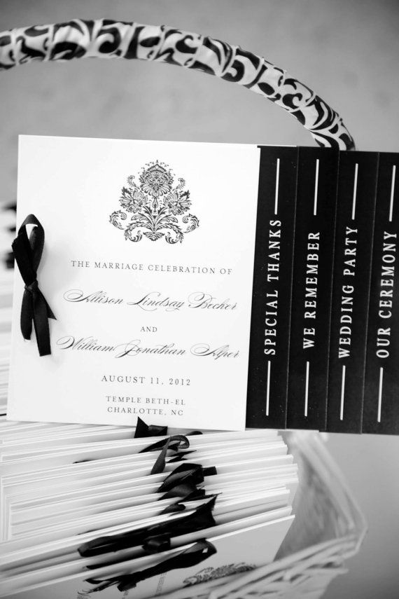 Black and White Wedding Programs  Black White by WhimsyBDesigns, $4.00