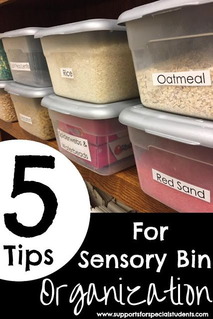 5 Tips for Sensory Bin Organization - For early learning and special education classrooms - By Supports for Special Students