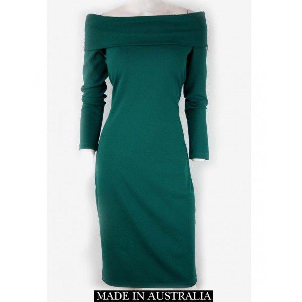 Viran Emerald Off Shoulder Dress