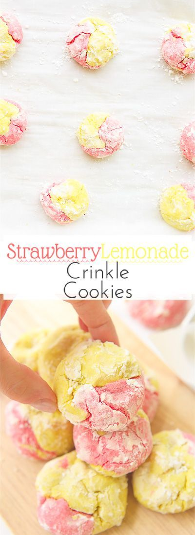 This strawberry lemonade crinkle cookies recipe combines zesty lemon flavors with sweet strawberry hints in a soft and fluffy crinkle cookie!  These moist gluten free cookies are a great little snack or dessert all summer long! via @blessherheartya