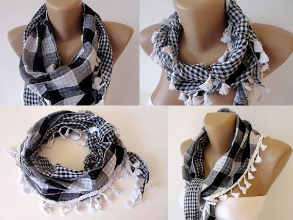 black and white plaid scarf women scarves  cowl by scarvesCHIC, $12.90