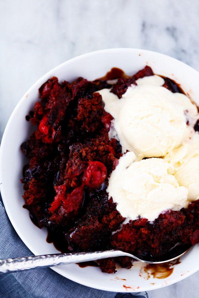 Slow Cooker Cherry Chocolate Hot Fudge Cake