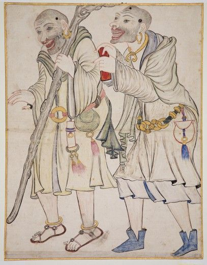Two Wandering Dervishes Iran, most probably Tabriz late 15th century brush drawing in ink, watercolour and gold on paper 48.6 x 37.5cm Khalili Collections