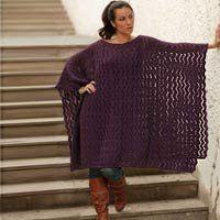100% alpaca wool poncho, 'Purple Waves' NOVICA. $159.95
