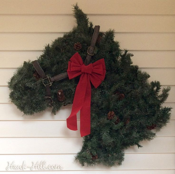 Horse Head Shaped Wreath with Vintage Leather Halter--instructions to make your own