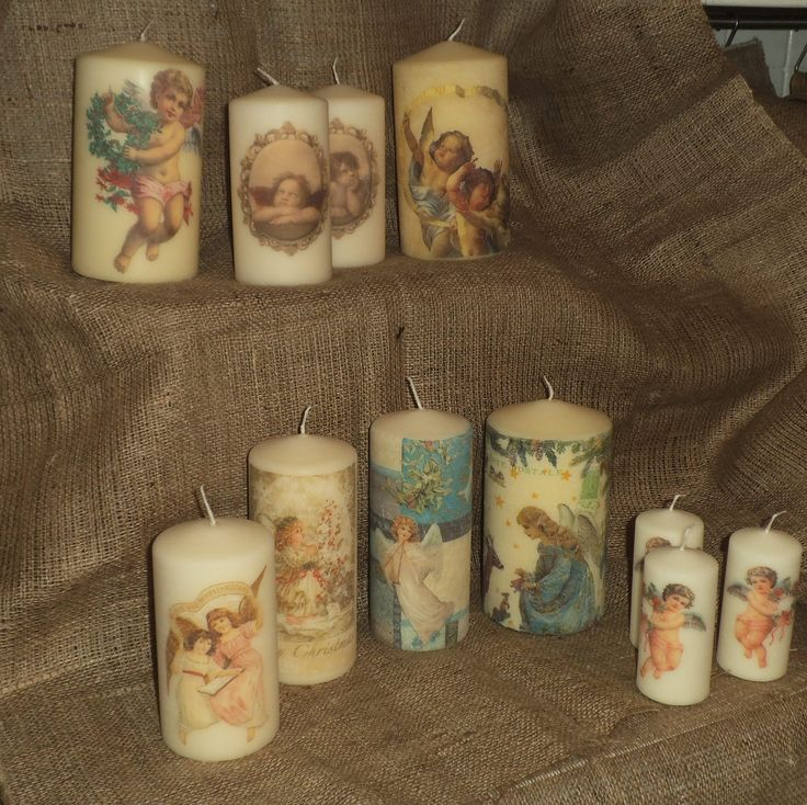 Some of my cherub/angel decorated candles for this year. View more of my napkin decoupage work on www.facebook.com/YourLovelyHomeStephanieSinclair and in my Folksy shop folksy.com/shops/YourLovelyHome