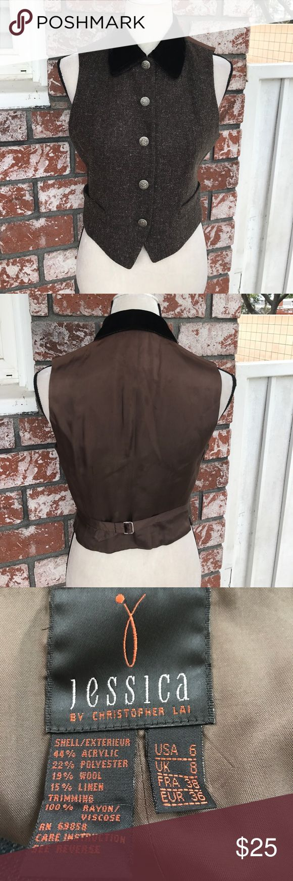 Adorable brown vest fully lined Fully lined brown vest beautiful buttons pockets in front and velour collar Jessica by Christopher Lai Jackets & Coats Vests