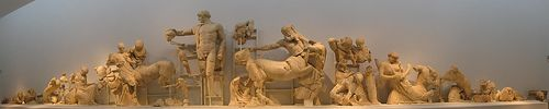 The pediment sculptures from the Temple of Zeus. Ca. 5th century. From Olympia-Greece.org.