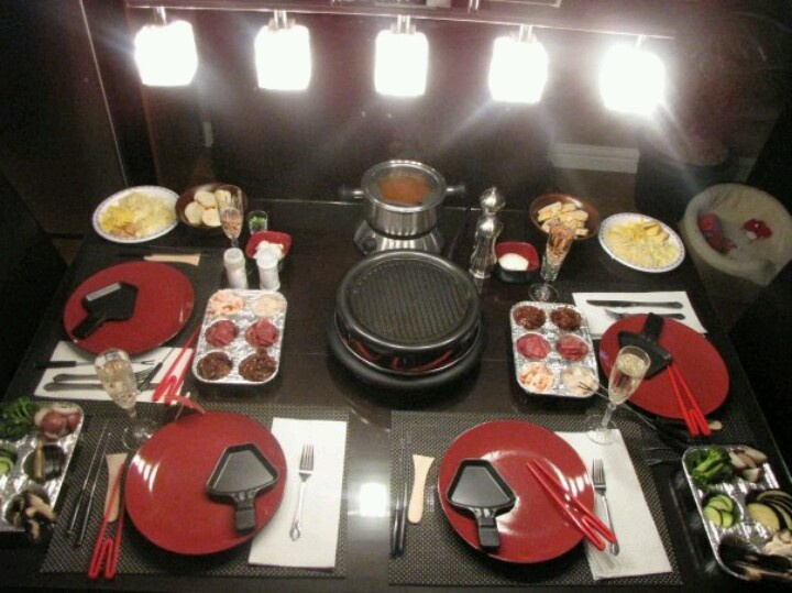 table setting for valentine u0026 39 s day  fondue and raclette