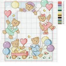 Resultado de imagem para ponto cruz ursinhos meninos