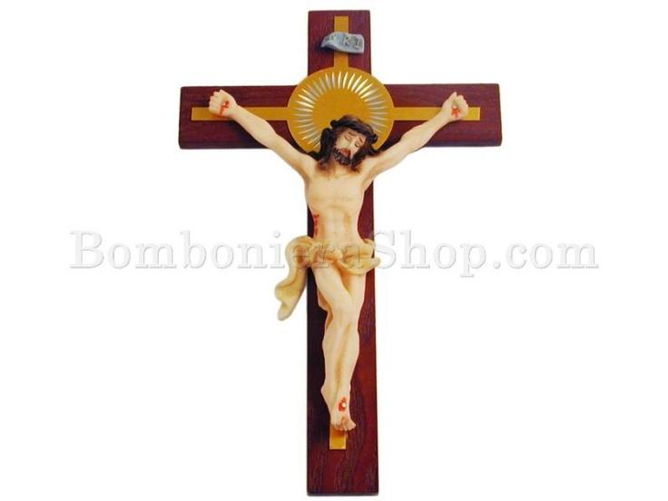 Crociffisso, in resina decorata, con gancino per appendere..: Resina Decorata, Oggetti Religiosi, Statue Santi, Con Gancino
