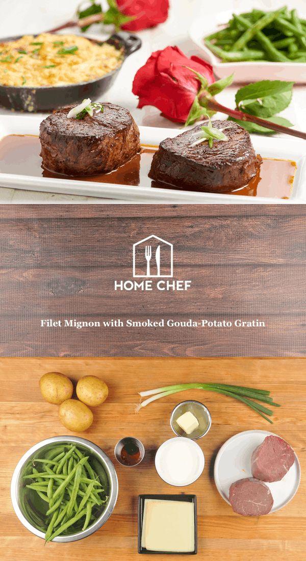 Filet Mignon with Smoked Gouda-Potato Gratin with bordelaise sauce and buttered green beans