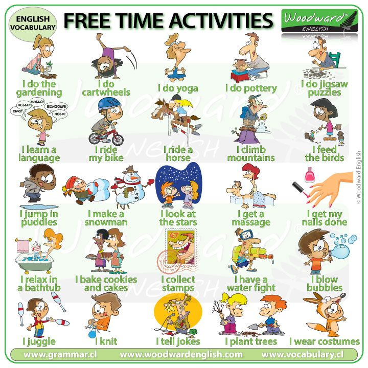 Free Time Activities in English | English activities, Time ...