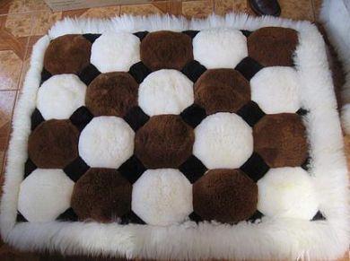 White And Brown Alpaca Fur Mat From Peru