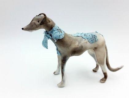 Greyhound Dog Textile Art