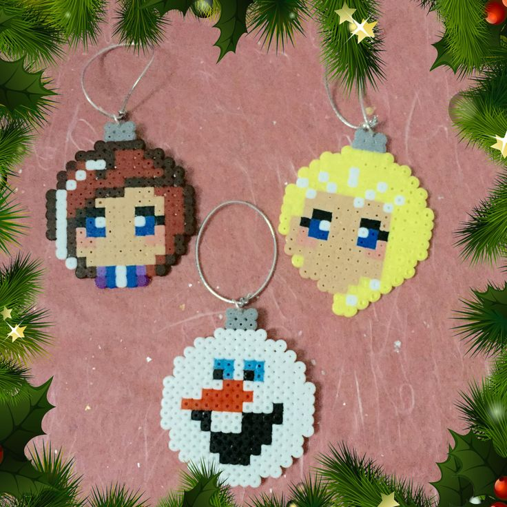 Frozen Christmas Baubles hama perler beads by ZoZoTings