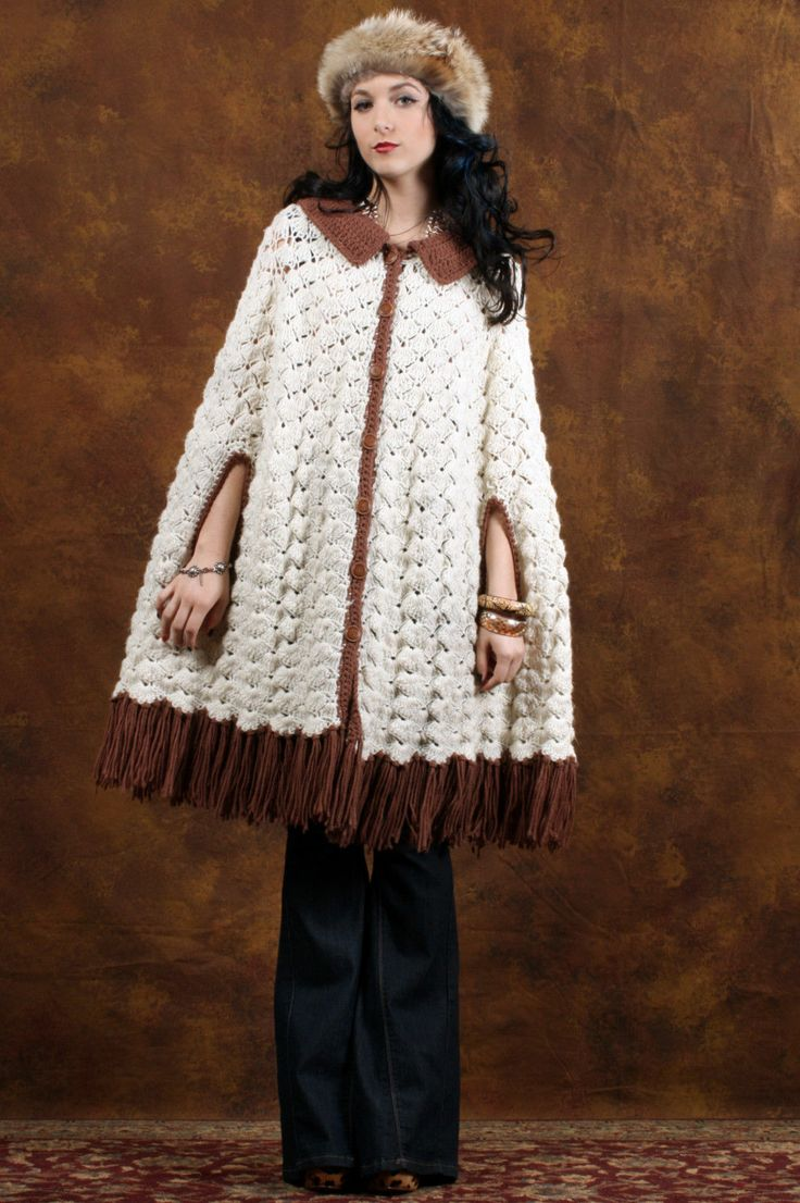 139 best capa crochet cap images on pinterest crochet stitches vtg 70s crochet macrame fringe gipsy swing hippie boho sheer cape poncho jacket bankloansurffo Choice Image