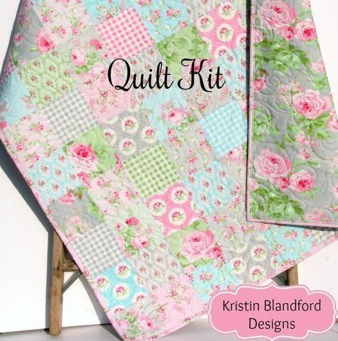 Baby Girl Quilt Kit Charlotte Tanya Whelan Free Spirit Fabrics Blue Pink Gray Grey Cottage