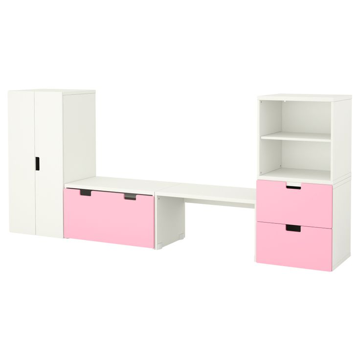 Kids play room -STUVA Storage combination with bench - white/pink - IKEA
