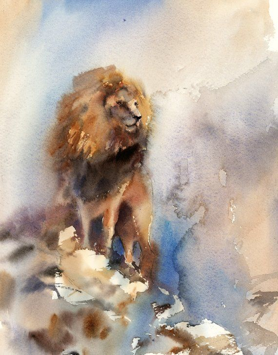 Lion Fine Art Print Wild Animals Watercolor Painting Art Lion