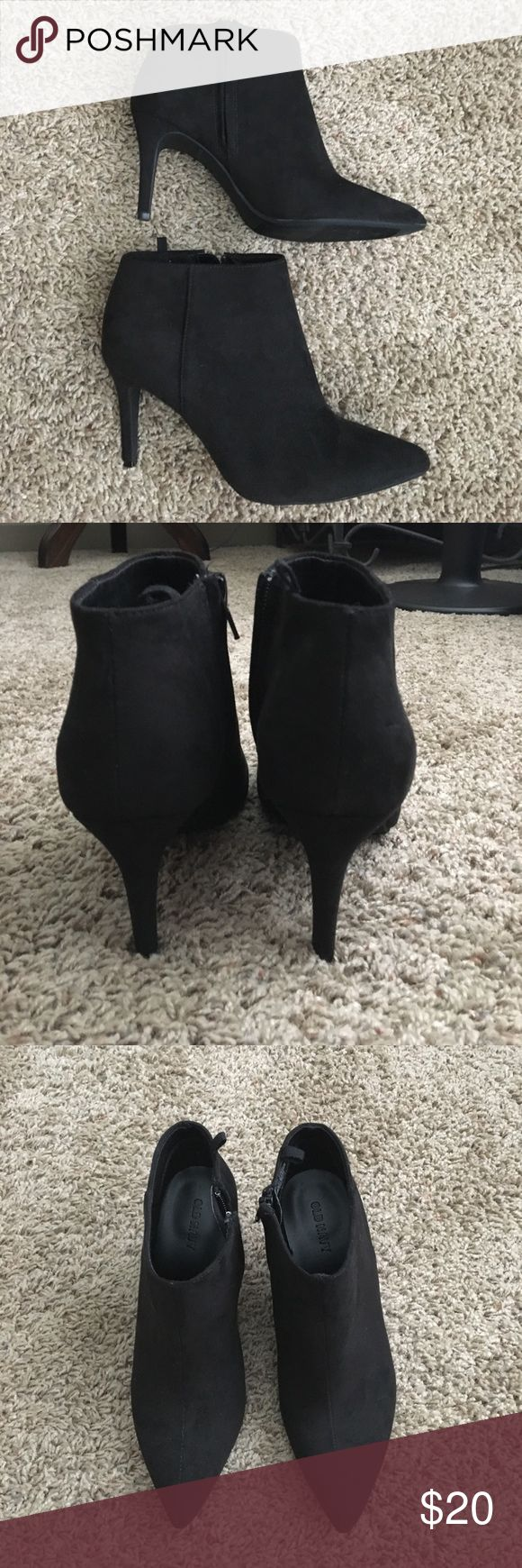 Old Navy black ankle boots size 7 Black ankle boots from Old Navy. Only worn once. 3 inch heel. SIZE 7.  Faux suede fabric Old Navy Shoes Ankle Boots & Booties