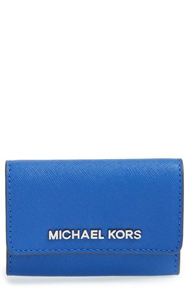 MICHAEL Michael Kors 'Jet Set' Saffiano Leather Coin Purse available at #Nordstrom 58 Electric Blue