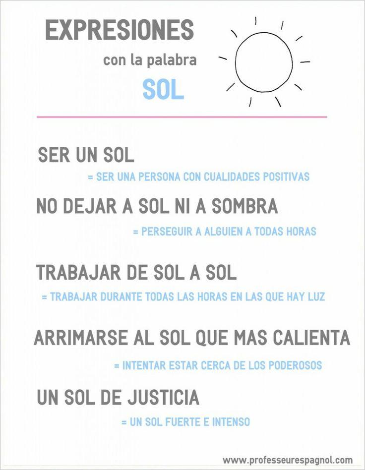 Expresiones con la palabra #SOL. Nivel B1.