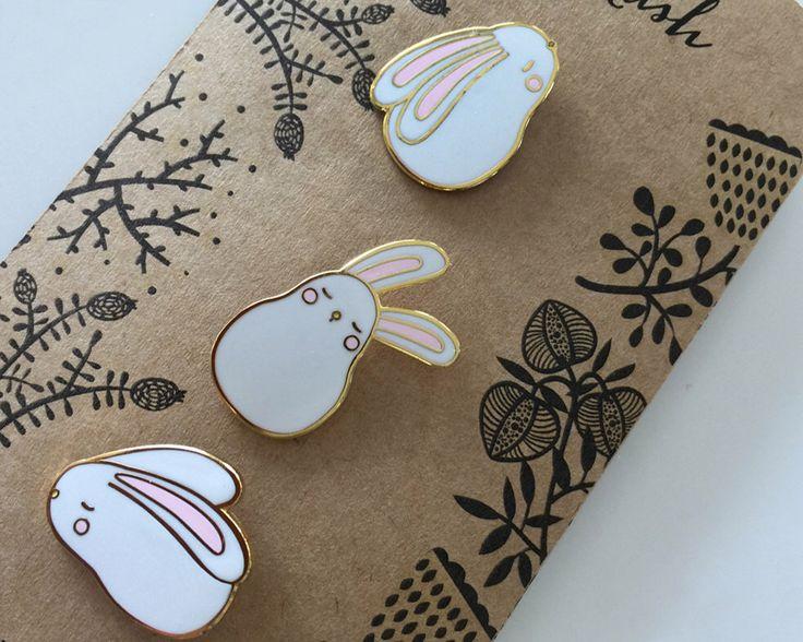 Mini Bunny Pin Set by kushkush on Etsy