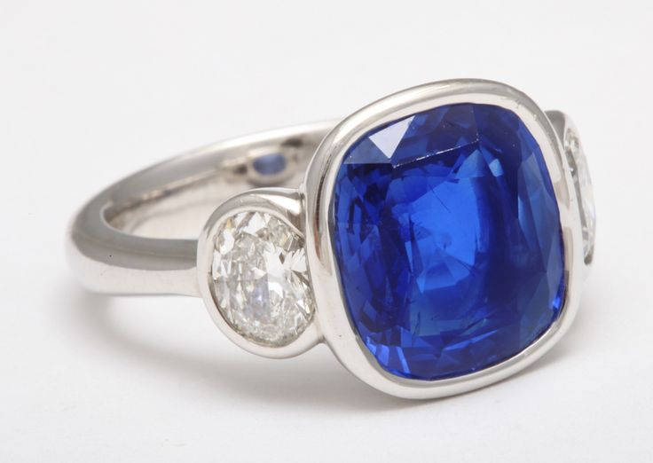 Natural Unheated Ceylon Sapphire and Diamond Ring | From a unique collection of vintage three-stone rings at https://www.1stdibs.com/jewelry/rings/three-stone-rings/