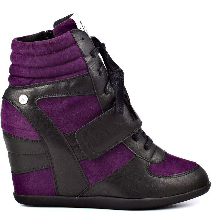 Purple and black wedge sneakers