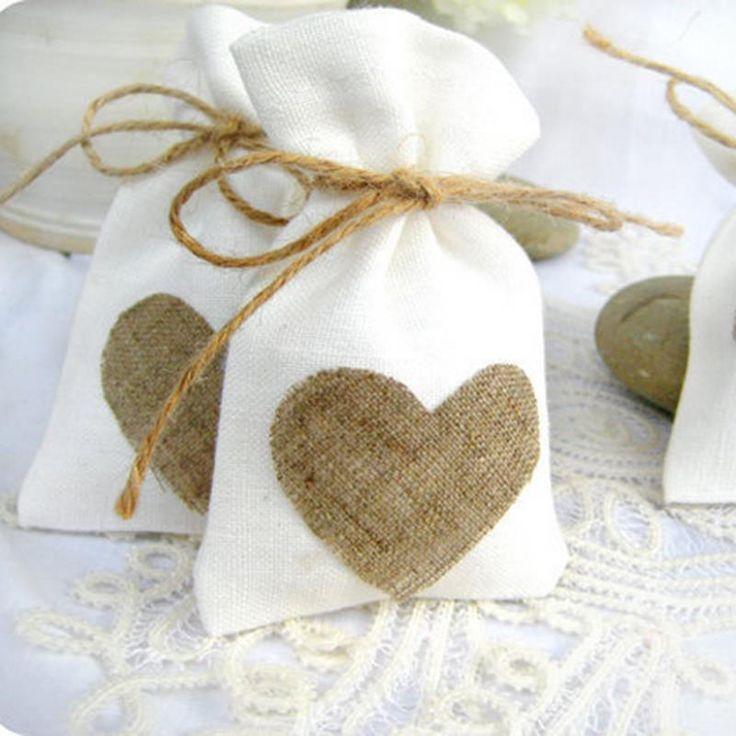 White Natural Linen Drawstring Wedding Favor Bags (Set Of 12) - Wedding Look