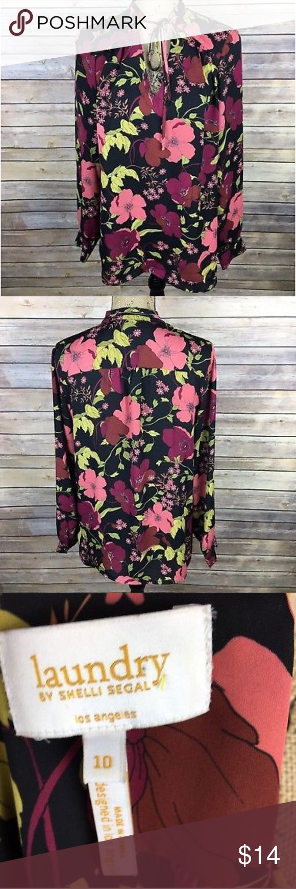 Laundry Shelli Segal Sz 10 Black Maroon Blouse Pre-owned Laundry by Shelli Segal Women's Blouse Size 10 Black Maroon Green Floral V-Neck. Tie neckline, long sleeve.  *Bust is 20.5 inches laying flat. *Length is 27 inches from shoulder to bottom hem. Laundry By Shelli Segal Tops Blouses