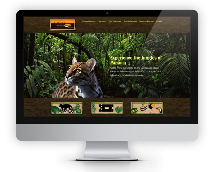 """SafaricksZoo.com website features dark wood and jungle design elements and large parallex full width images to showcase the wildlife and plant life that can be found at Safarick's Zoo.  The website also features a """"Meet the Animals"""" section where visitors can read and learn about the animals that have been rescue and rehabilitated at Safarick's Zoo."""