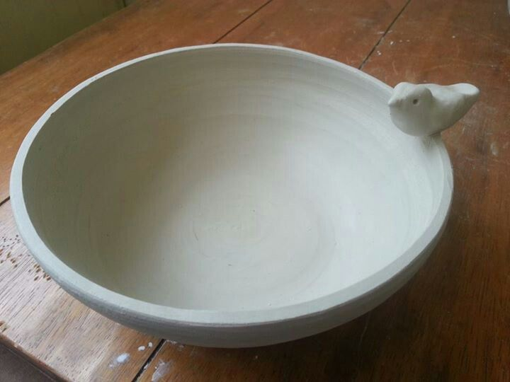 Empty Bowls Project - bird bowl in greenware stage