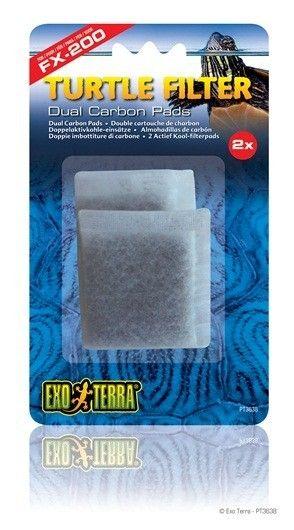 Carbón Filtro Fx EXOTERRA 2 almohadillas de carbono repuesto para uso con Exo Terra Tortuga Filtro FX-200 (PT3630).