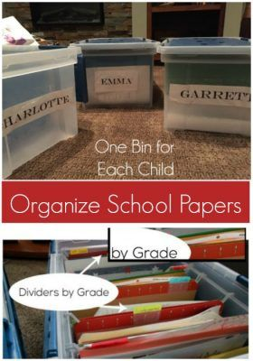 Tips and Ideas to organize kids artwork, school pictures and more! Use this method to touch items just ONCE a year!