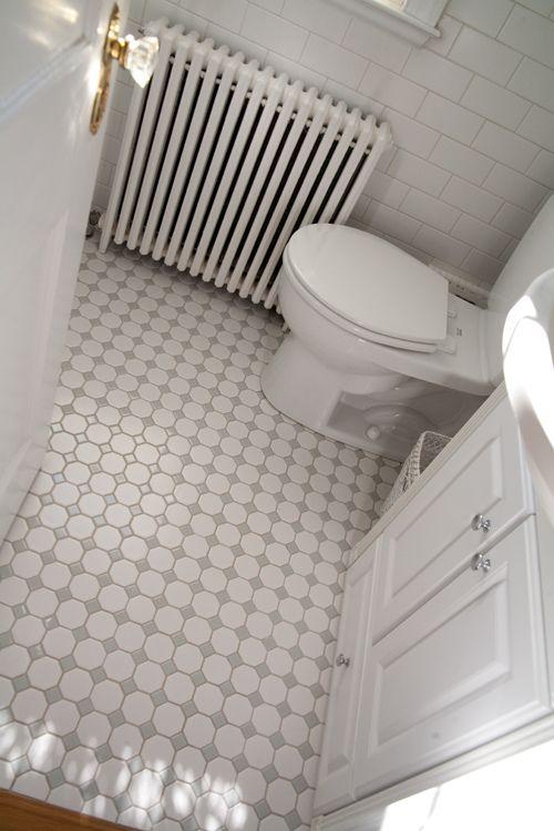 bathroom tile. Gray and white